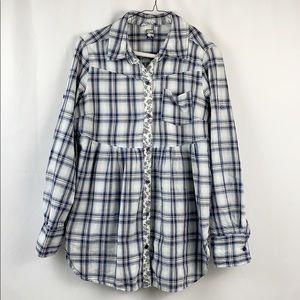 {FREE PEOPLE}Plaid Button Down Shirt Size 12